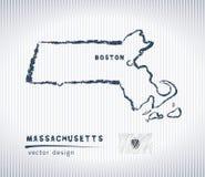 Carte de dessin de craie de vecteur du Massachusetts d'isolement sur un fond blanc illustration libre de droits
