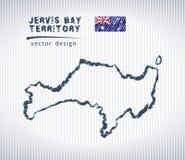 Carte de dessin de craie de vecteur de Jervis Bay Territory d'isolement sur un fond blanc Images libres de droits