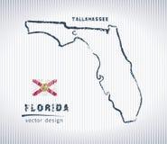 Carte de dessin de craie de vecteur de la Floride d'isolement sur un fond blanc Photographie stock libre de droits
