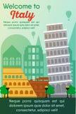 Carte de destinations de voyage Voyage vers l'Italie illustration stock