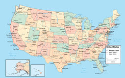 Carte de Detiled Etats-Unis Image libre de droits