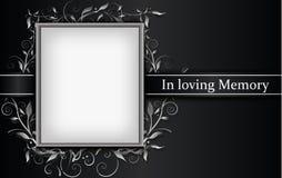 Carte de deuil avec le cadre de photo et l'effet 3d floral illustration de vecteur