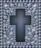 Carte de Diamond Easter avec la croix catholique, vecteur Images stock