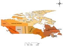 Carte de dix provinces et trois territoires du Canada illustration stock