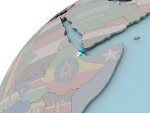 Carte de Djibouti avec l'indicateur Photos libres de droits