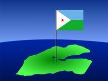 Carte de Djibouti avec l'indicateur illustration de vecteur