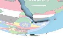 Carte de Djibouti avec le drapeau sur le globe Image libre de droits