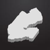 Carte de Djibouti dans le gris sur un fond noir 3d Image stock