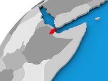 Carte de Djibouti en rouge Images stock