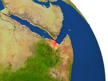 Carte de Djibouti en rouge Images libres de droits