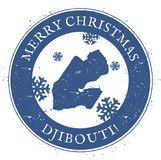 Carte de Djibouti Joyeux Noël Djibouti de vintage illustration libre de droits