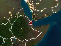 Carte de Djibouti la nuit illustration stock