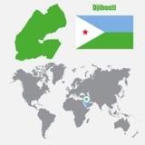 Carte de Djibouti sur une carte du monde avec l'indicateur de drapeau et de carte Illustration de vecteur Photo libre de droits