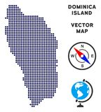 Carte de Dot Dominica Island illustration de vecteur