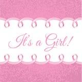 Carte de douche de bébé avec le cadre rose Photorealistic de ruban pour votre texte Photos libres de droits