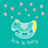 Carte de douche de bébé garçon avec le cheval mignon. Style plat de conception. Image libre de droits