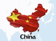 Carte de drapeau de la Chine avec Taïwan 3D rendant la carte et le drapeau de la Chine sur la carte de l'Asie Le symbole national images libres de droits