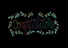 Carte de félicitations Calligraphie de lettrage de main illustration stock