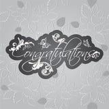 Carte de félicitations Remous floraux sur le modèle sans couture de feuilles Photo stock