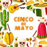 Carte de fête de Cinco de Mayo de partie mexicaine de fiesta illustration stock