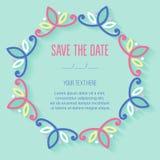 Carte de fête d'invitation avec le cadre à feuilles caduques linéaire Images stock