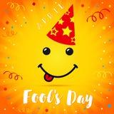 Carte de fête de chapeau de sourire d'April Fools Day Images stock