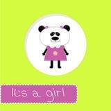 Carte de fête de naissance avec le panda. Son une fille illustration stock
