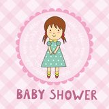 Carte de fête de naissance avec une fille mignonne illustration libre de droits