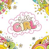 Carte de fête de naissance, bonjour fille Photos libres de droits