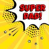 Carte de f?te pour le jour de p?re Bulle comique blanche avec le mot SUPERBE rouge de PAPA sur le fond jaune dans le style d'art  illustration stock