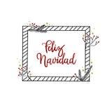 Carte de Feliz Navidad Hand Lettering Greeting Calligraphie moderne Photos libres de droits