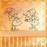 Carte de fille d'elfes. Rétro type Image libre de droits