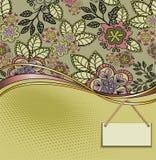 Carte de fleur avec le label Images libres de droits