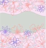 Carte de fleur d'ensemble, tirée par la main Illustration Stock