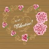 Carte de fleur de jour de valentines Photos libres de droits