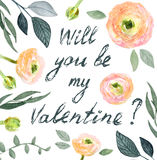 Carte de fleur de Valentine Photos libres de droits