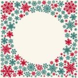 Carte de flocons de neige de Noël (l'espace de cercle pour le texte) Photographie stock