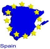 Carte de forme de l'Espagne Photos libres de droits