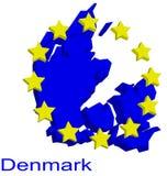 Carte de forme du Danemark Photographie stock