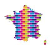 Carte de Frances avec le fond coloré multi de style de brique illustration stock