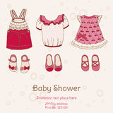 Carte de fête de naissance avec des robes Image stock