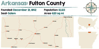Carte de Fulton County, Arkansas Photos libres de droits