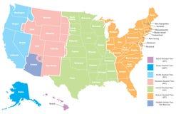Carte de fuseau horaire des Etats-Unis Photo libre de droits