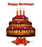 Carte de gâteau d'anniversaire avec des framboises Photographie stock libre de droits