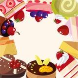 Carte de gâteau de dessin animé Photo stock