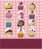Carte de gâteau de dessin animé illustration stock
