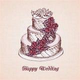 Carte de gâteau de mariage illustration stock