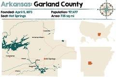Carte de Garland County, Arkansas Image stock
