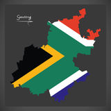 Carte de Gauteng South Africa avec le drapeau national Images libres de droits