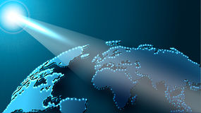 Carte de globe dans l'espace brillé avec le faisceau de Sun illustration de vecteur